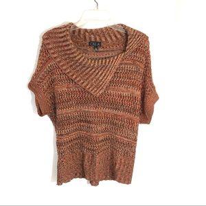One A open knit rust crochet knit mesh  sweater